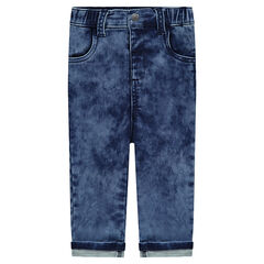 Snow wash-effect fleece jeans