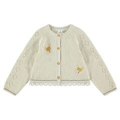 Knit cardigan with embroidered fawns and lace trim