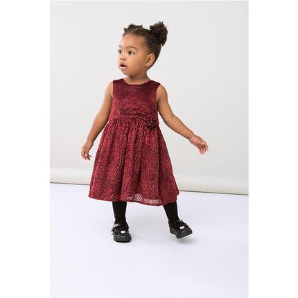 Sleeveless dress with velvet polka dots