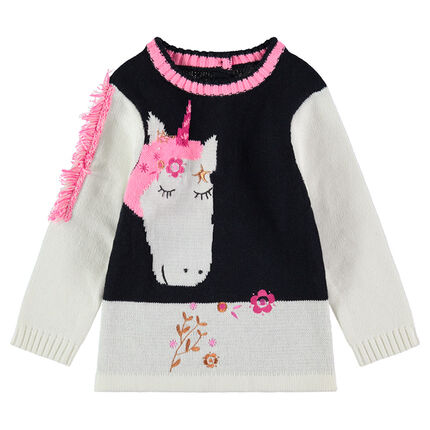 Knit sweater with a jacquard unicorn and fringed mane