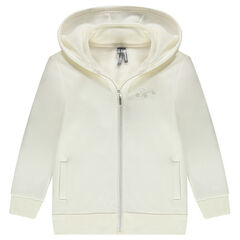 Hooded fleece jacket with a sherpa lining