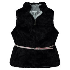 Sleeveless fake fur cardigan with removable belt