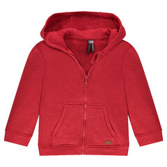 Zipped fleece jacket with hood