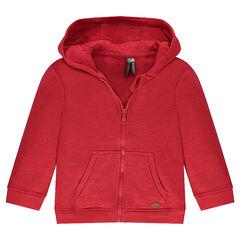 Zipped fleece jacket with hood