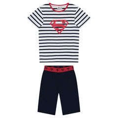 Short jersey pajamas with plain-colored bermuda shorts and a striped top featuring a ©Warner Superman print