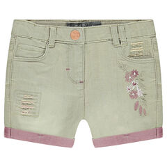 Used-effect two-tone denim shorts with embroidered flowers