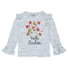 Short sleeve t-shirt with floral print and ruffles
