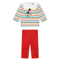 Ensemble with a striped tee-shirt and plain-colored canvas pants