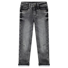 Used-effect fleece jeans