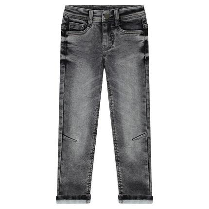 Distressed fleece jeans