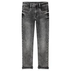 Junior - Used-effect fleece jeans