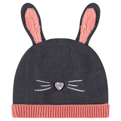 Jersey knit beanie with stitched ears