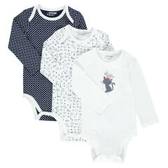 Set of 3 printed bodysuits with opening adapted according to the age