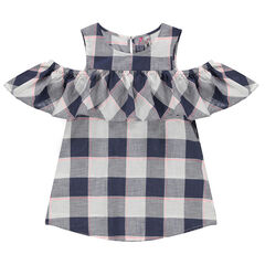 Frilled checkered tunic with bare shoulders