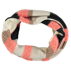 Striped knit snood with sherpa lining