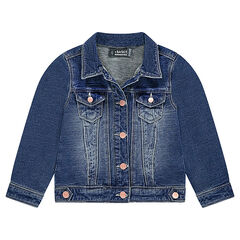Denim-effect fleece jacket