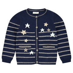 Knit cardigan with placed golden stripes and sparkly stars