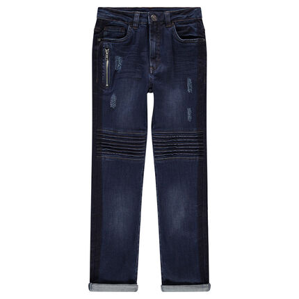 Junior - Used and crinkled-effect jeans with a zipped pocket and topstitching