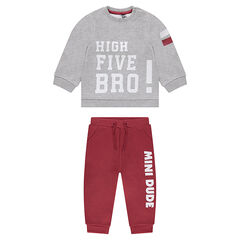 Two-tone fleece sweatsuit with printed text