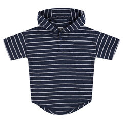 Junior - Short-sleeved hooded tee-shirt with allover stripes