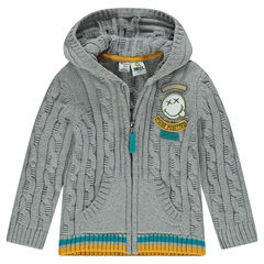 Knit cardigan with hood and ©Smiley badge