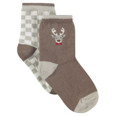 Set of 2 pairs of assorted socks with checked /moose motif