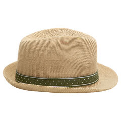 Straw-effect trilby hat with a green band