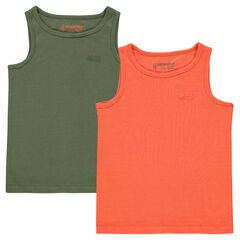 Junior - Set of 2 plain-colored, ribbed tank tops