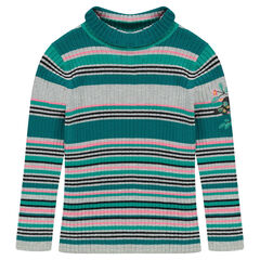 Striped, turtleneck, ribbed sweater
