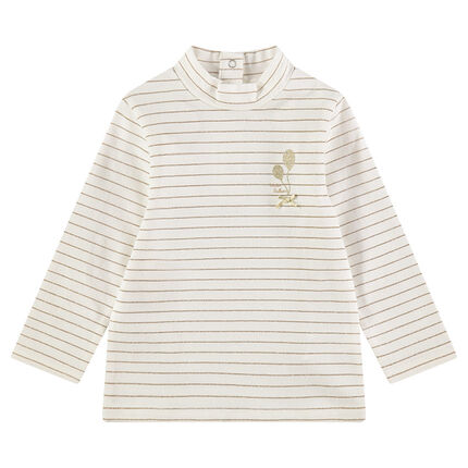 Thin jersey sweater with thin golden stripes and satiny bow
