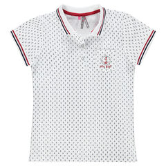 Junior - Short-sleeved polo shirt with anchor print