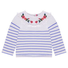 Striped fleece sweatshirt with frills and embroidered flowers