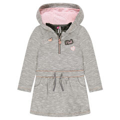 Hooded fleece dress with butterfly and heart badges