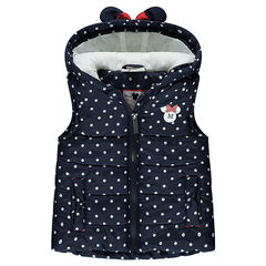 Sleeveless ©Disney Minnie Mouse padded jacket with allover polka dots