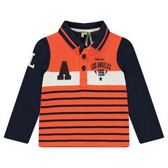 Long-sleeved striped polo shirt with terry loop knit letter