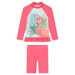SPF 50+ anti-UV swim ensemble with a pink flamingo print