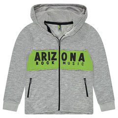 Junior - Hooded fleece jacket with contrasting bands and a printed message