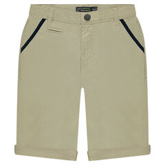 Junior - Bermuda shorts in plain twill with contrasting details