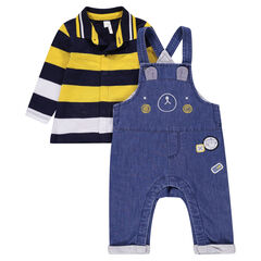 Set comprising a striped long-sleeved polo shirt and chambray overalls