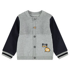 Knit cardigan with badge patches and fleece sleeves