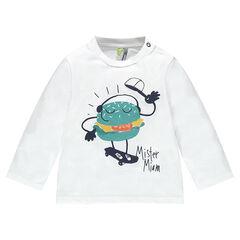 Long-sleeved jersey tee-shirt with printed hamburger