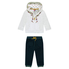 Two-tone sweatsuit in panne velvet with embroidered flowers
