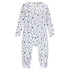 Ribbed footed sleeper with stars printed all over