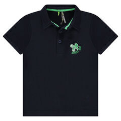 Short-sleeved polo shirt in pique cotton with an embroidered logo