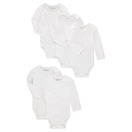 Set of 5 solid long sleeves jersey bodies
