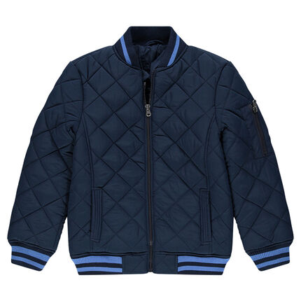Junior - Letterman-style quilted-effect jacket with pockets