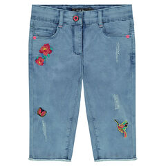 Used-effect denim capri pants with embroidery