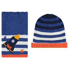 Cap and scarf ensemble with embroidered rocket