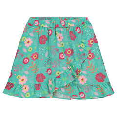 Skort with flowers printed all over and crossed flaps
