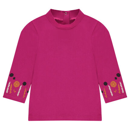 Plain-colored thin mock turtleneck sweater with embroidery on the sleeves